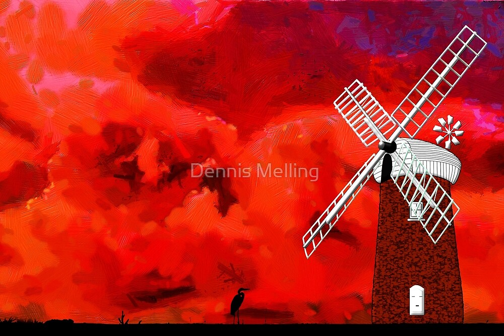 Horsey Drainage Mill, Norfolk Broads circa 19th century by Dennis Melling