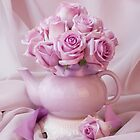 A Tea Pot Of Lavender Pink Roses  by Sandra Foster