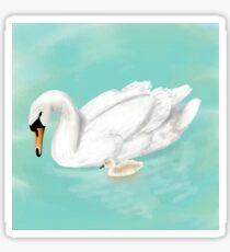 Mother Swan and her Cygnet Sticker