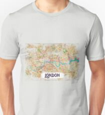 Watercolor Map of London T-Shirt