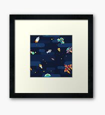 Space star pattern astronauts spaceships and flying aliens Framed Print