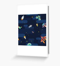 Space star pattern astronauts spaceships and flying aliens Greeting Card