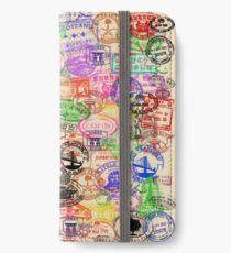 Vintage Passport Briefmarken iPhone Flip-Case/Hülle/Klebefolie