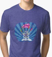 Pop art robot among the fireworks on a blue background Tri-blend T-Shirt