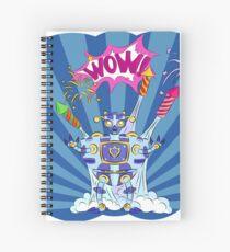 Pop art robot among the fireworks on a blue background Spiral Notebook