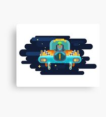 The alien swears in a space taxi among the stars Canvas Print