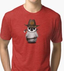 Baby Penguin Zombie Hunter Tri-blend T-Shirt