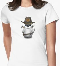 Baby Penguin Zombie Hunter Womens Fitted T-Shirt