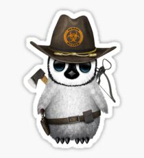 Baby Penguin Zombie Hunter Sticker