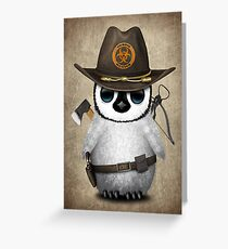 Baby Penguin Zombie Hunter Greeting Card