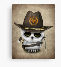 Baby Owl Zombie Hunter Canvas Print