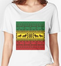 African Traditional Pattern Lions rasta Women's Relaxed Fit T-Shirt