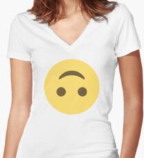 Upside down face Women's Fitted V-Neck T-Shirt