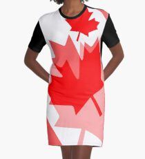 A Canadian Flag Wave Graphic T-Shirt Dress