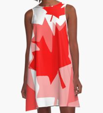 A Canadian Flag Wave A-Line Dress