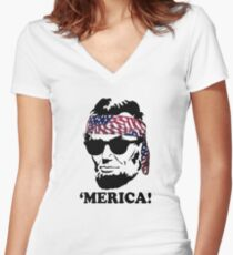 Funny Abe Lincoln 'Merica Shirt: Patriotic, Hip, & American! Women's Fitted V-Neck T-Shirt