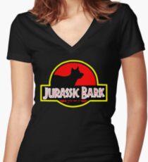 Jurassic Bark Women's Fitted V-Neck T-Shirt