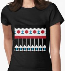 Retro Blue + Red + Black + White Mod Apple Pattern Womens Fitted T-Shirt