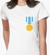 Military Medal Emoji Womens Fitted T-Shirt