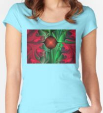 Red Pointsettias Women's Fitted Scoop T-Shirt