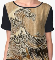 The Great Hokusai Wave in Bamboo Inlay Style Women's Chiffon Top