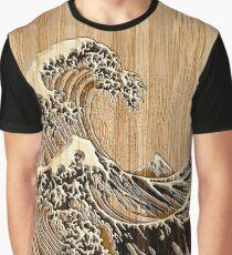 Die große Hokusai-Welle im Bambus-Inlay-Stil Grafik T-Shirt