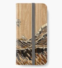 The Great Hokusai Wave in Bamboo Inlay Style iPhone Wallet/Case/Skin