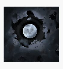 Cloudy Midnight Moon Photographic Print