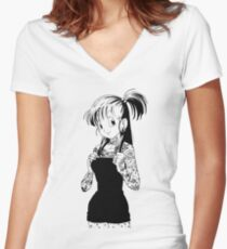 Pit Mami Bulma Women's Fitted V-Neck T-Shirt
