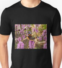 Red Admiral on Pink Wildflowers Unisex T-Shirt