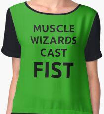 Muscle wizards cast FIST - black text Women's Chiffon Top