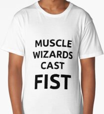 Muscle wizards cast FIST - black text Long T-Shirt