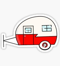 Red Vintage Camper Sticker