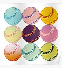 Pop Art Pastel Baseballs Repeating Pattern Poster