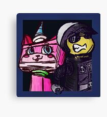 Unikitty and Bad cop Canvas Print