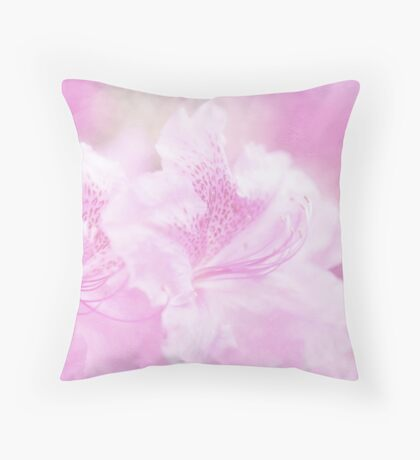 Soft and Lovely Pink Rhododendrons Throw Pillow