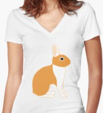 Orange White Eared Rabbit Women's Fitted V-Neck T-Shirt