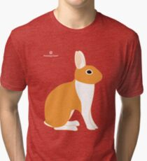 Orange White Eared Rabbit Tri-blend T-Shirt
