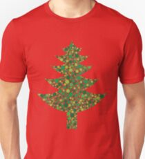 Christmas Tree Silhouette with Dots Pattern Unisex T-Shirt