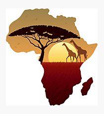 Africa Map Landscape Photographic Print