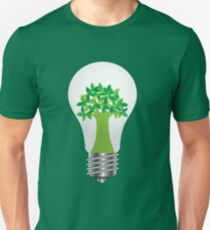 Light Bulb with Eco Tree Illustration Unisex T-Shirt