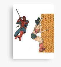 Spiderman and Wonder Woman Canvas Print