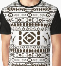 African Traditional Pattern Giraffs black and white Graphic T-Shirt