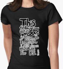 1 John 3:16 (black) Womens Fitted T-Shirt