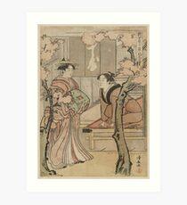Cherry blossom viewing - Japanese pre 1915 Woodblock Print Art Print