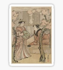 Cherry blossom viewing - Japanese pre 1915 Woodblock Print Sticker