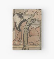 Cherry blossom viewing - Japanese pre 1915 Woodblock Print Hardcover Journal