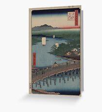 Senju great bridge - Japanese pre 1915 Woodblock Print Greeting Card