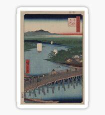 Senju great bridge - Japanese pre 1915 Woodblock Print Sticker