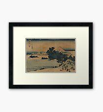 Berg Fuji-Szene - Japaner vor 1915 Woodblock Druck Gerahmtes Wandbild